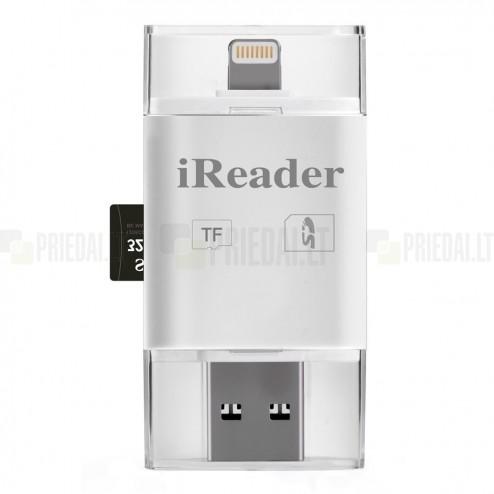 """""""iReader"""" SD / MicroSD / TF baltas kortelių skaitytuvas"""