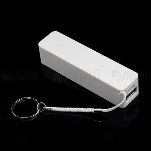 Balta atsarginė išorinė lyčio jonų baterija (2600 mAh), angl. Power bank