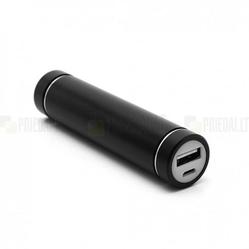 Juoda atsarginė išorinė lyčio jonų baterija (1600 mAh), angl. Power bank
