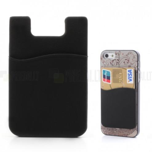 Juodas kortelės dėklas - kišenė