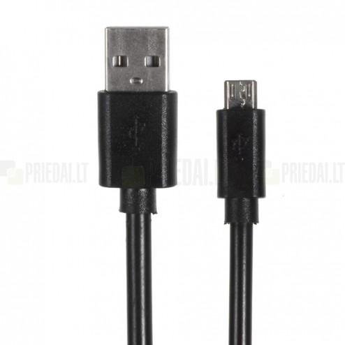 Micro usb 1.0 juodas laidas 1 m. (kabelis)