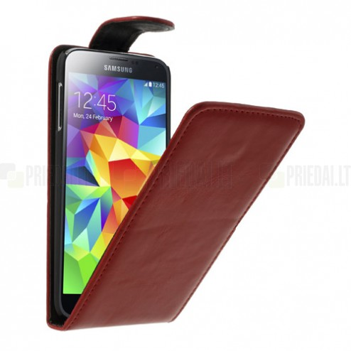 Samsung Galaxy S5 G900 klasikinis atverčiamas raudonas odinis dėklas