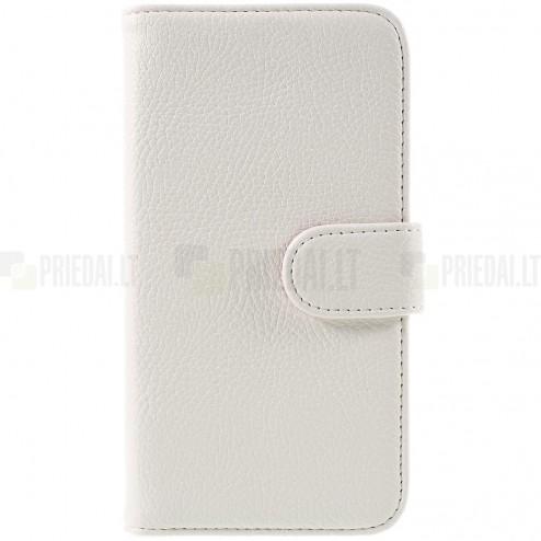 LG G3 D855 (D850, D851) atverčiamas baltas odinis Litchi dėklas - piniginė
