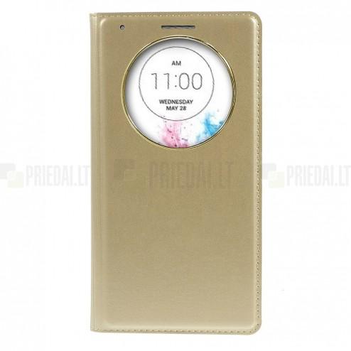 """LG G3 D855 (D850, D851) auksinis odinis atverčiamas """"Smart Window"""" dėklas - dangtelis"""