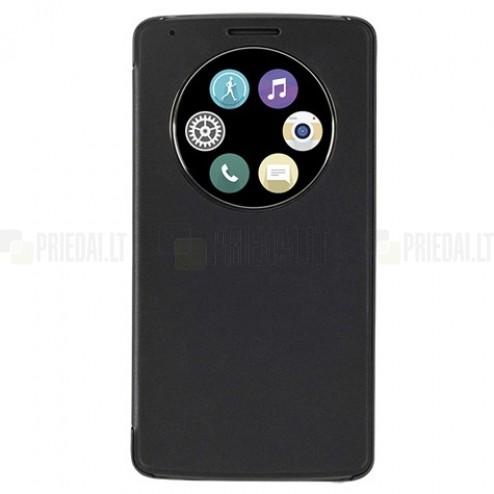 atverčiamas LG G3 D855 (D850, D851) juodas odinis dėklas su langeliu