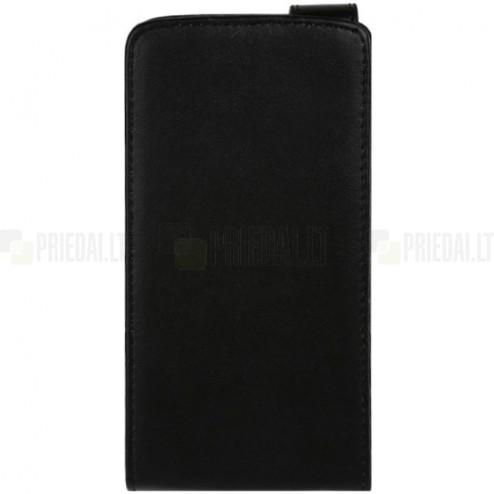 LG G3 klasikinis vertikaliai atverčiamas juodas odinis dėklas
