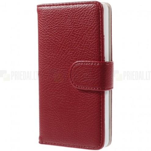 LG G3 D855 (D850, D851) atverčiamas raudonas odinis Litchi dėklas - piniginė