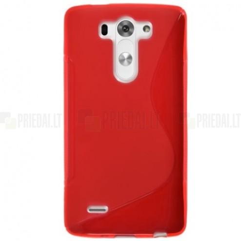 LG G3 S D722  S-Line kieto silikono (TPU) dėklas raudonas - nugarėlė