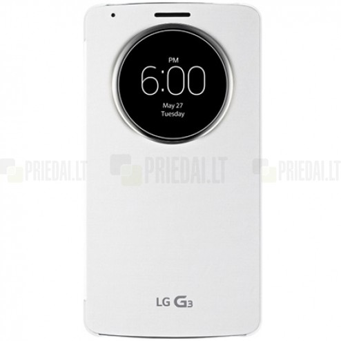 Oficialius LG G3 D855 (D850, D851) Quick Circle Cover baltas atverčiamas dėklas
