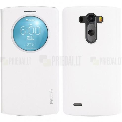 Rock Quick Circle LG G3 baltas atverčiamas dėklas - knygutė