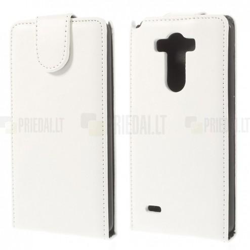 LG G3 klasikinis vertikaliai atverčiamas baltas odinis dėklas