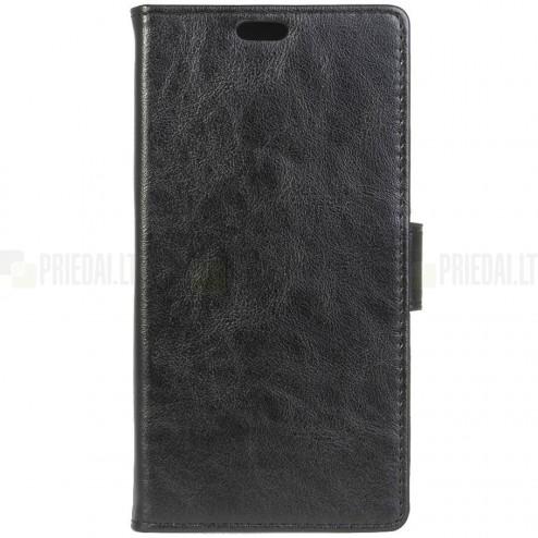 LG K8 (K350N) atverčiamas juodas odinis dėklas - piniginė