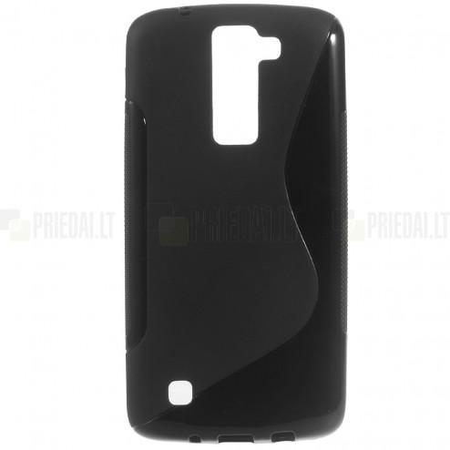 LG K8 (K350N) kieto silikono TPU juodas dėklas - nugarėlė