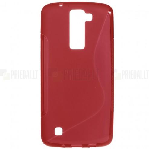 LG K8 (K350N) kieto silikono TPU raudonas dėklas - nugarėlė