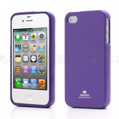 Mercury TPU kieto silikono violetinis Apple iPhone 4S dėklas - nugarėlė