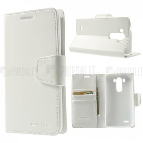 Mercury Sonata atverčiamas LG G3 baltas odinis dėklas - piniginė