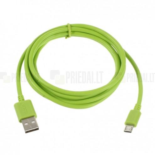 Micro usb 1.0 žalias laidas 1 m.