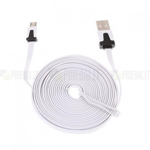 Micro usb baltas laidas 3 m. su juodais akcentais (kabelis)