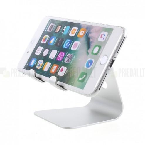 Universalus sidabrinis telefono / planšetės mini laikiklis, stovas