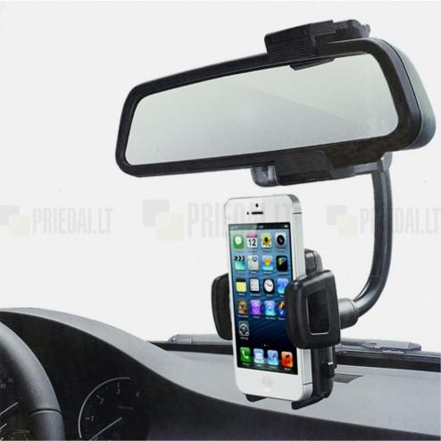 Mirror Mount juodas automobilinis telefono laikiklis