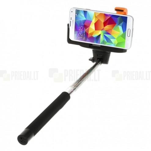 Monopod teleskopinė asmenukių (selfie) juoda fotogravimo lazda (laikiklis)