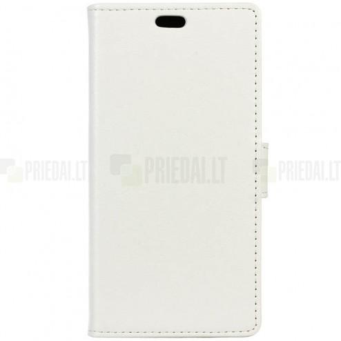 Motorola Moto G4, Moto G4 Plus atverčiamas baltas odinis dėklas, knygutė - piniginė