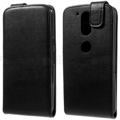 Motorola Moto G4, Moto G4 Plus klasikinis vertikaliai atverčiamas juodas odinis dėklas