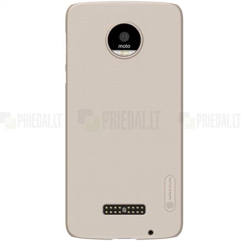 Motorola Moto Z (Moto Z Droid) Nillkin Frosted Shield auksinis plastikinis dėklas + apsauginė ekrano plėvelė