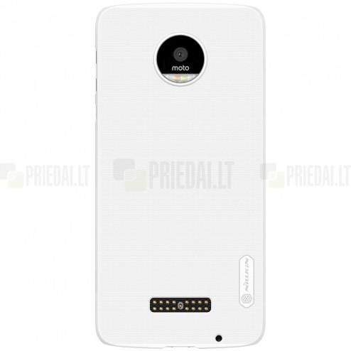 Motorola Moto Z (Moto Z Droid) Nillkin Frosted Shield baltas plastikinis dėklas + apsauginė ekrano plėvelė