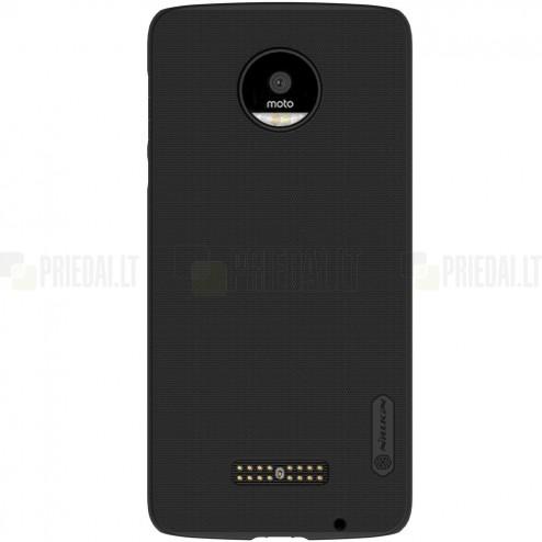 Motorola Moto Z (Moto Z Droid) Nillkin Frosted Shield juodas plastikinis dėklas + apsauginė ekrano plėvelė