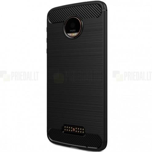 """Motorola Moto Z (Moto Z Droid) """"Carbon"""" kieto silikono TPU juodas dėklas - nugarėlė"""