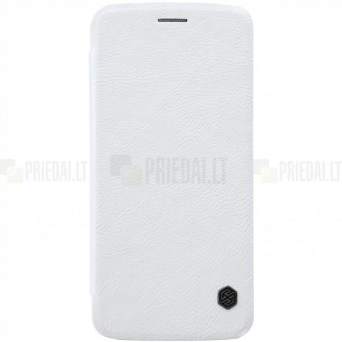 """Prabangus """"Nillkin"""" Qin serijos baltas odinis atverčiamas Motorola Moto Z (Moto Z Droid) dėklas"""