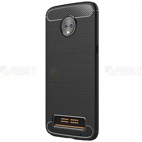 """Motorola Moto Z3 Play (Moto Z3) """"Carbon"""" kieto silikono TPU juodas dėklas - nugarėlė"""