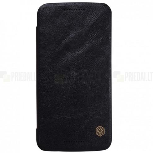 """Prabangus """"Nillkin"""" Qin serijos juodas odinis atverčiamas Motorola Moto X Style dėklas"""