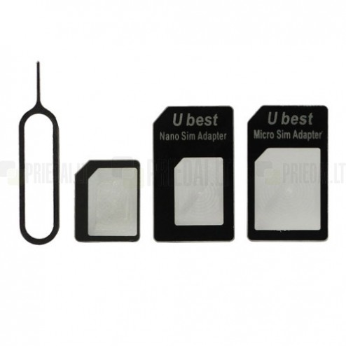 Nano SIM > Micro SIM > SIM adapteris + stumdukas (eject pin)