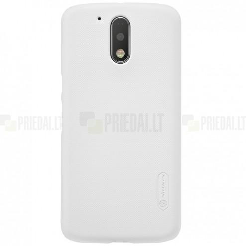 Motorola Moto G4, Moto G4 Plus Nillkin Frosted Shield baltas plastikinis dėklas + apsauginė ekrano plėvelė