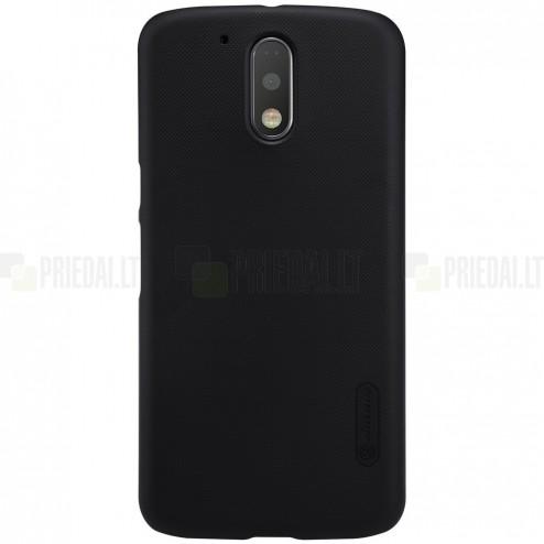 Motorola Moto G4, Moto G4 Plus  Nillkin Frosted Shield juodas plastikinis dėklas + apsauginė ekrano plėvelė
