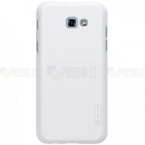 Samsung Galaxy A5 (2017) A520 Nillkin Frosted Shield baltas plastikinis dėklas + apsauginė ekrano plėvelė