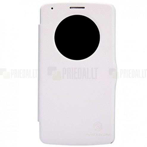 Nillkin Fresh LG G3 atverčiamas baltas odinis dėklas - knygutė