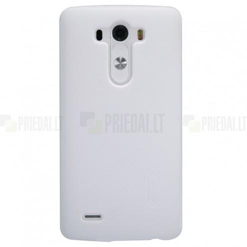 Nillkin Frosted Shield LG G3 baltas plastikinis dėklas + apsauginė ekrano plėvelė