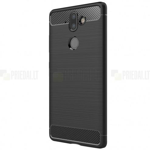 """Nokia 8 Sirocco (Nokia 9) """"Carbon"""" kieto silikono TPU juodas dėklas - nugarėlė"""