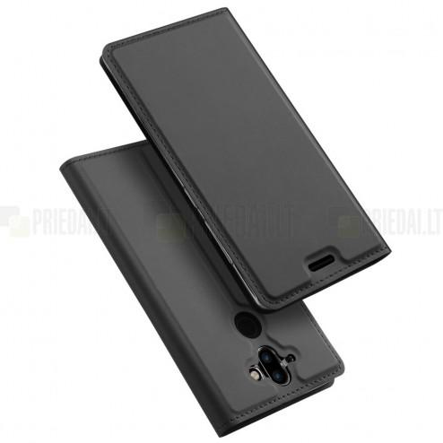"""""""Dux Ducis"""" Skin serijos Nokia 8 Sirocco (Nokia 9) juodas odinis atverčiamas dėklas"""