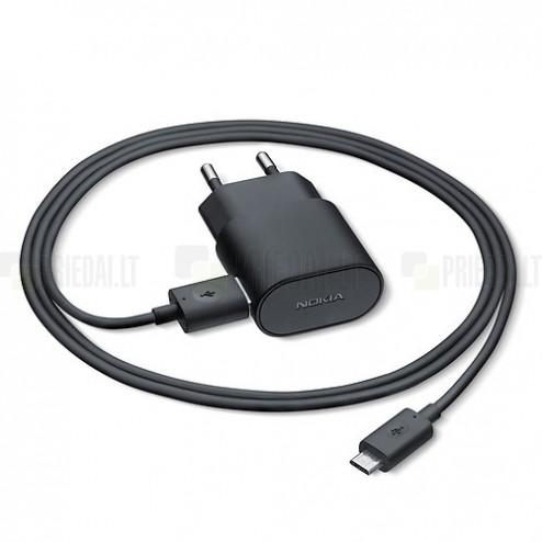 Originalus Microsoft juodas kelioninis (sieninis, buitinis) įkroviklis su micro USB laidu (AC-60E, Europa)