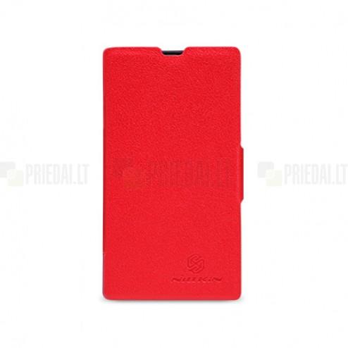 """Atverčiamas odinis raudonas """"Nillkin"""" Fresh Nokia Lumia 520 dėklas"""