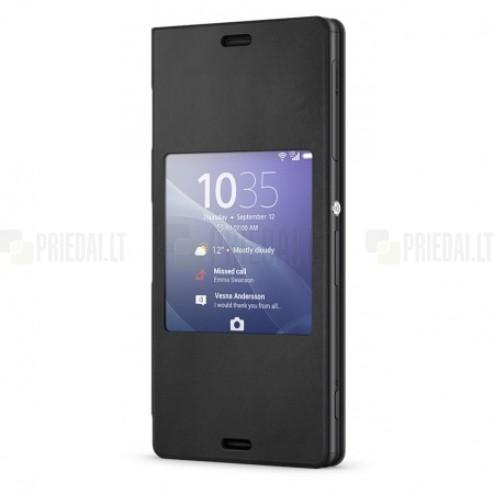 Oficialius Sony Xperia Z3 Style Cover Window juodas atverčiamas dėklas SCR24