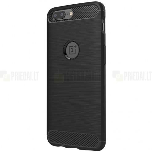 """OnePlus 5 (OnePlus Five) """"Carbon"""" kieto silikono TPU juodas dėklas - nugarėlė"""