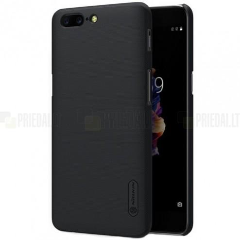 OnePlus 5 (OnePlus Five) Nillkin Frosted Shield juodas plastikinis dėklas