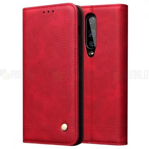 Deluxe atverčiamas raudonas odinis OnePlus 8 dėklas - knygutė