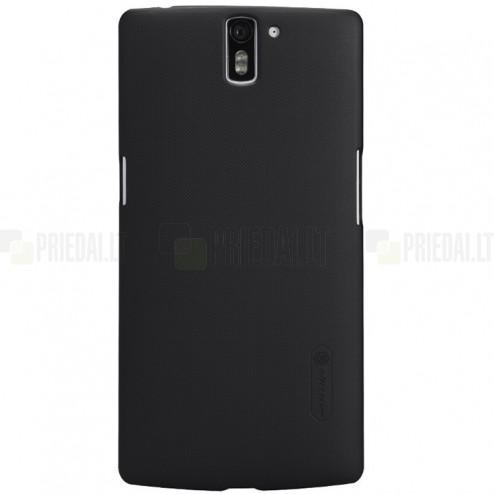 OnePlus One Nillkin Frosted Shield juodas plastikinis dėklas + apsauginė ekrano plėvelė