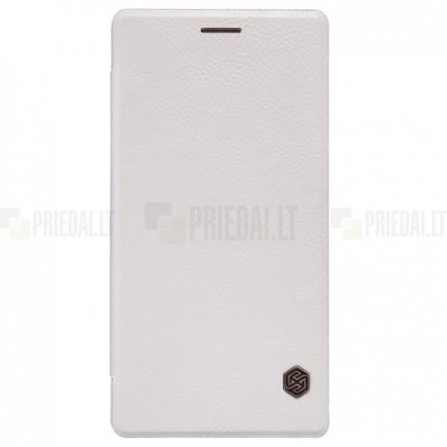"""Prabangus """"Nillkin"""" Qin serijos baltas odinis atverčiamas OnePlus 2 (Two) dėklas - knygutė"""